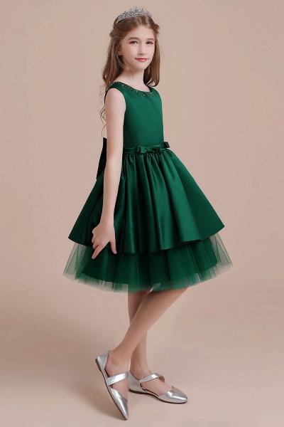 Bow Beading Satin Tulle A-line Flower Girl Dress_4