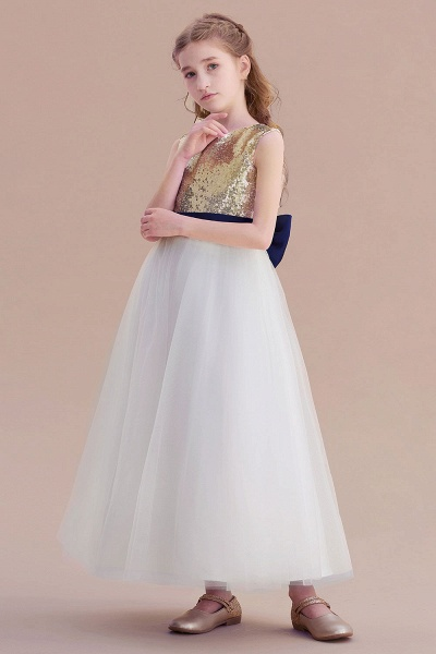 Bow Sequins Ankle Length A-line Flower Girl Dress_4
