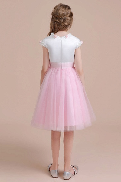 Cap Sleeve Tulle Knee Length Flower Girl Dress_3