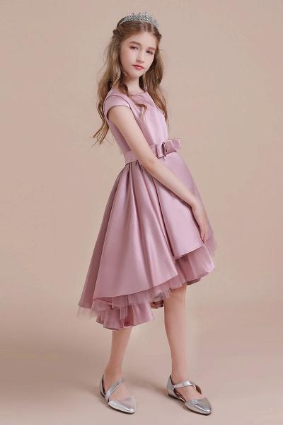 Cap Sleeve A-line Satin High-low Flower Girl Dress_4