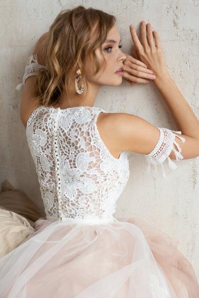 Cute Cold Shoulder A-line Tulle Wedding Dress_7