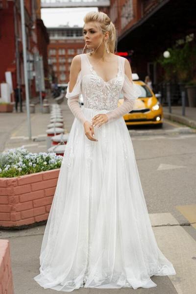 Chic Long Sleeve Cold Shoulder Tulle Wedding Dress_1