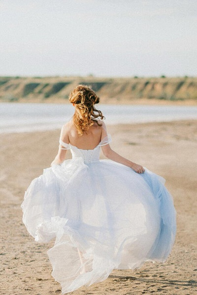 Elegant Court Train Lace Tulle Wedding Dress_4