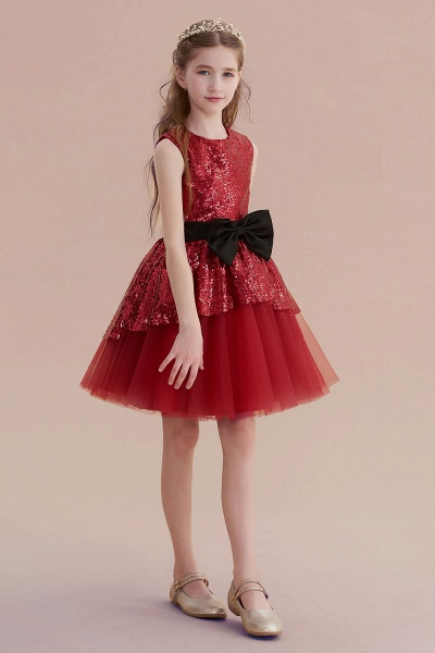 Bows Sequins Tulle A-line Flower Girl Dress_6