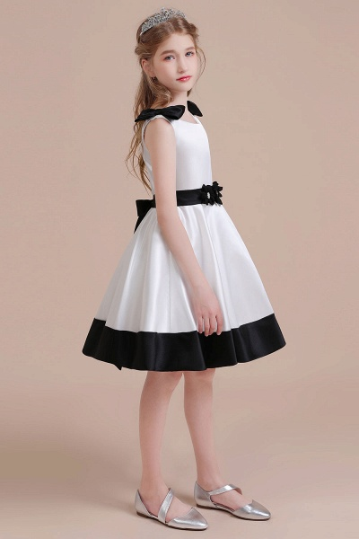 Latest Satin Knee Length Flower Girl Dress_5