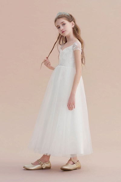 Cap Sleeve Sweetheart Tulle Flower Girl Dress_5