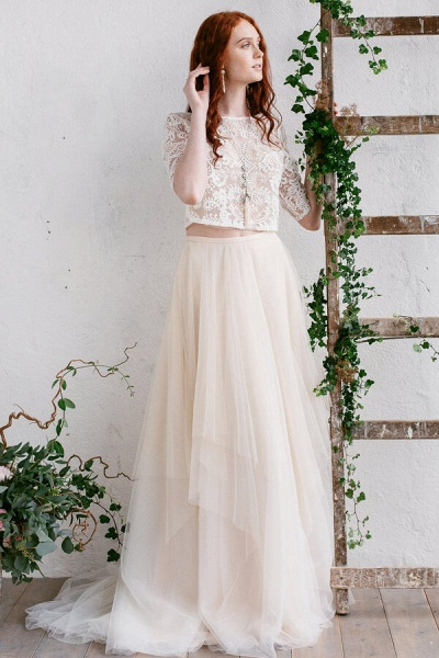 Chic Sweep Train Tulle Two Piece Wedding Dress_1