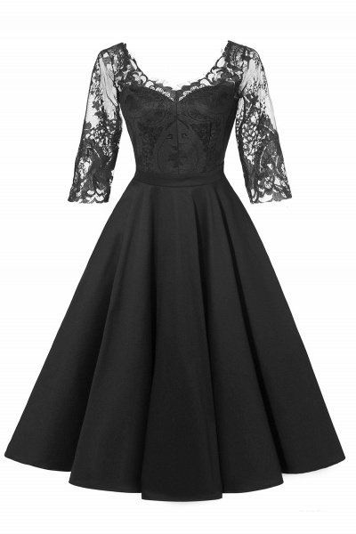 Retro Scoop neck  V-back Lace Dresses with Sleeves | A-line ruffles Burgundy Lace Cocktail Party Dresses_5