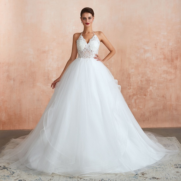 Halter Open Back Appliques Tulle Wedding Dress_1