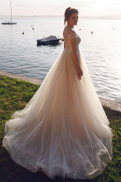 Ruffle Tulle Cathedral Train A-line Wedding Dress_4