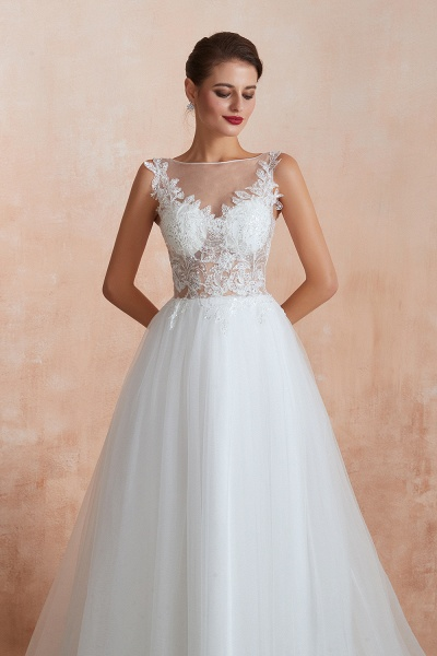 Graceful Sequins Tulle A-line Wedding Dress_8