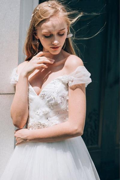 Sweetheart Beading Tulle A-line Wedding Dress_6