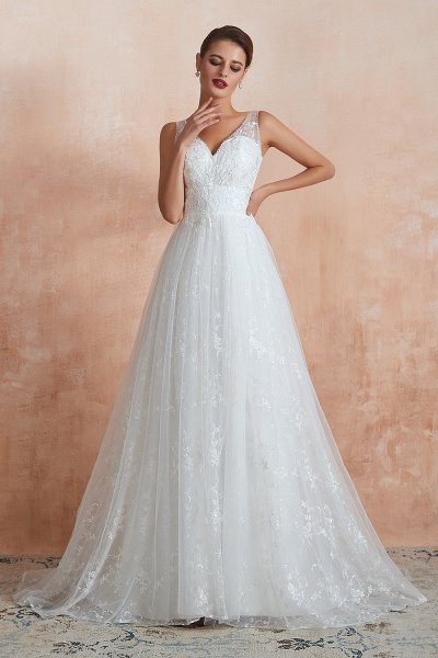 Elegant V-neck Lace Tulle A-line Wedding Dress_4