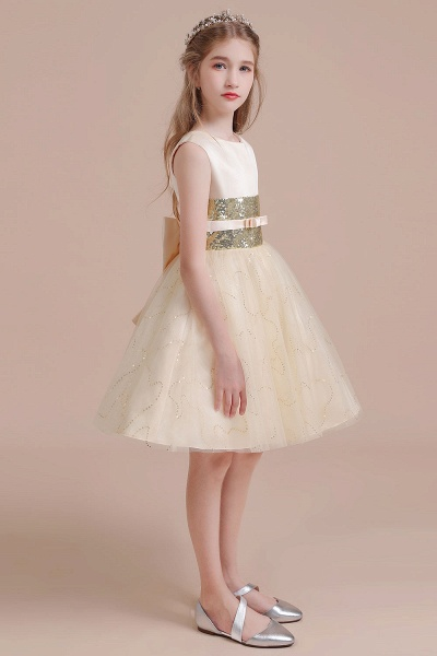 Cute Sequins Tulle A-line Flower Girl Dress_5