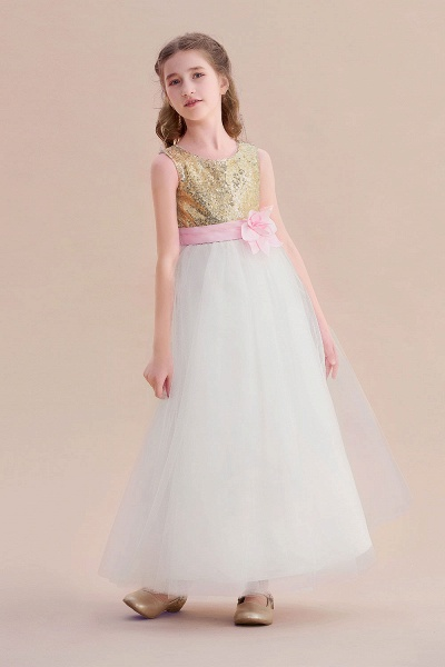 Sequins Tulle High-waisted A-line Flower Girl Dress_5