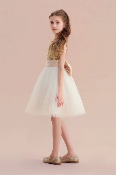 Sequins Tulle Bow A-line Flower Girl Dress_5