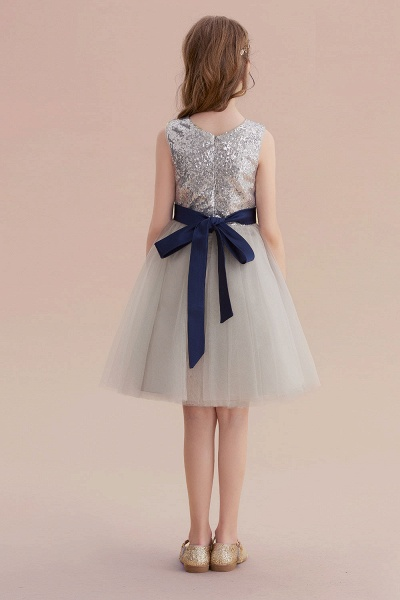 Elegant Sequins Tulle A-line Flower Girl Dress_3