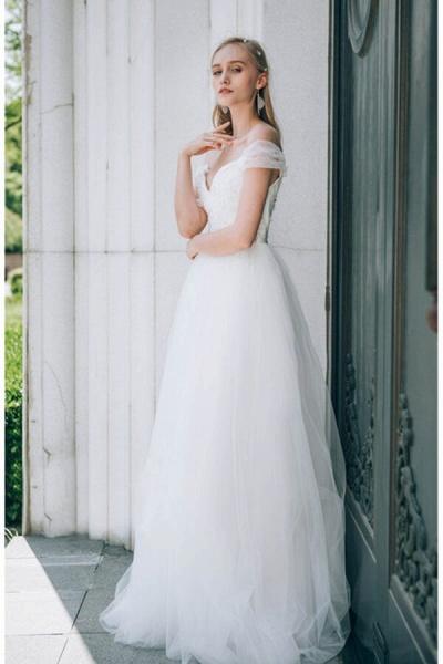 Sweetheart Beading Tulle A-line Wedding Dress_4