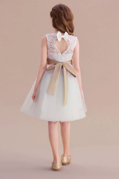 Bow Tulle Lace Knee Length A-line Flower Girl Dress_3