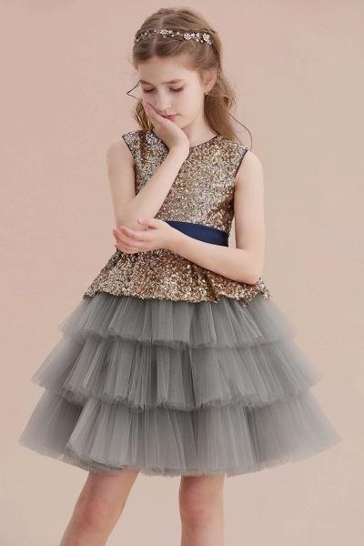 Sequins Tulle A-line Knee Length Flower Girl Dress_8