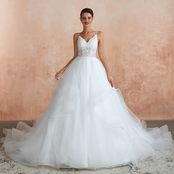 Glorious Appliques Tulle A-line Wedding Dress_1