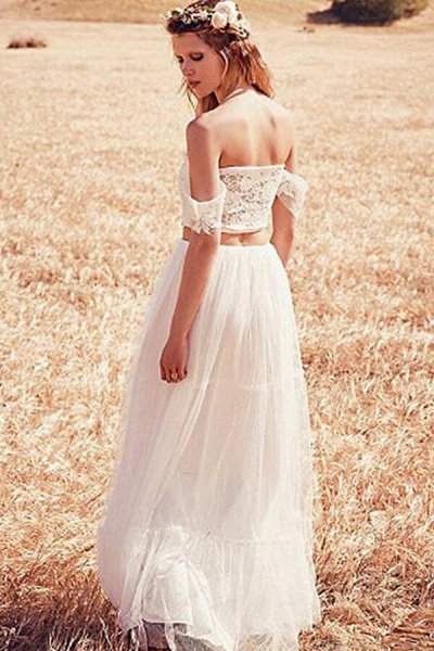 Chic Appliques Tulle Off-the-shoulder Wedding Dress_3