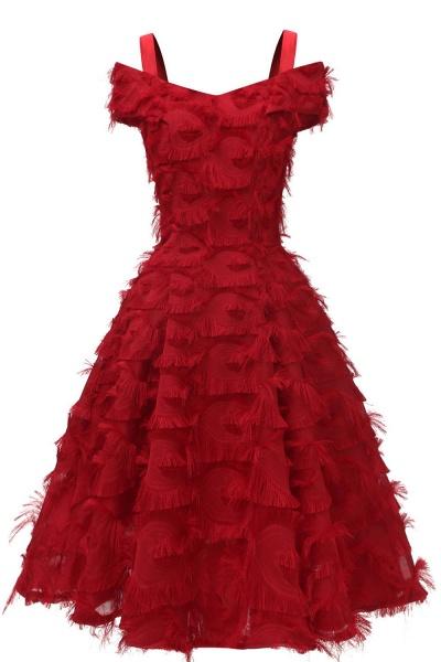 Artificial Fur Cap Sleeve Princess Short Homecoming Dress   A-line Burgundy Cocktail Dresses_3