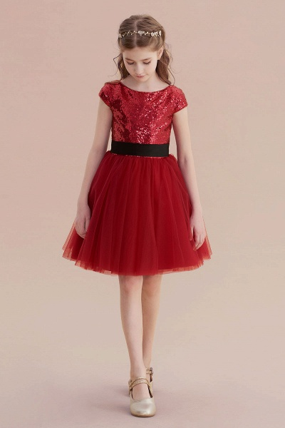 Cap Sleeve Sequins Tulle A-line Flower Girl Dress_5