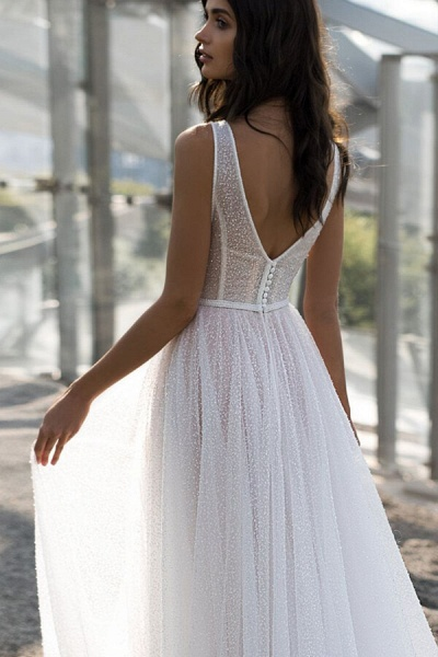 Awesome Sequins Tulle A-line Wedding Dress_5