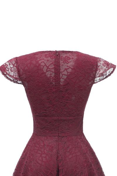 Retro Lace Cap Sleeves Dress Elegant Cocktail Party V-neck A Line Vintage Dress_14