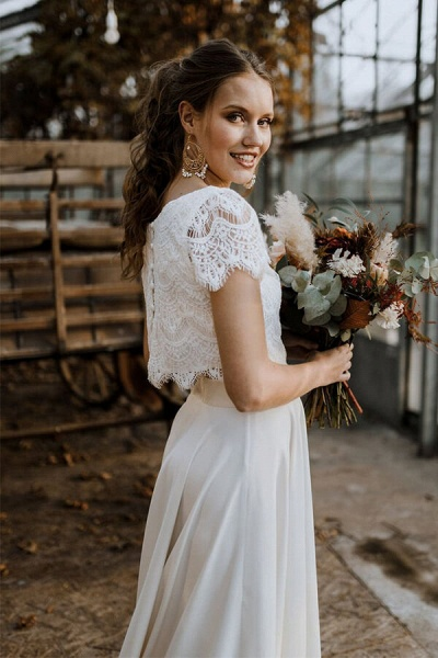 Short Sleeve Lace High Low Two Piece Wedding Dress_5