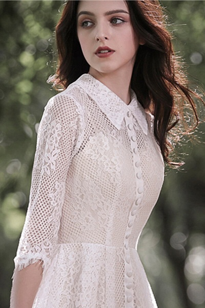 Cute Front Button-up Lace A-line Wedding Dress_10