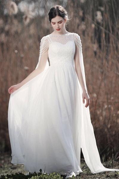 Eye-catching Beading Chiffon A-line Wedding Dress_1