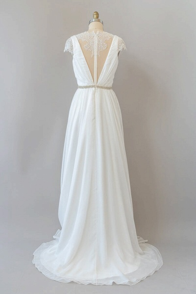 Cap Sleeve V-neck Lace Chiffon Sheath Wedding Dress_3