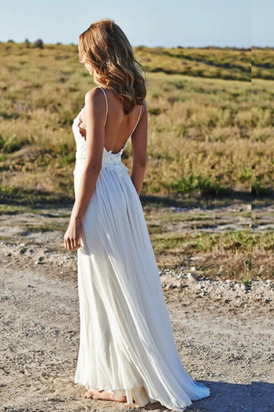 Appliques Spaghetti Strap Chiffon Wedding Dress_2