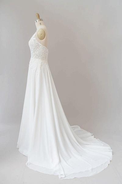 Spaghetti Strap Appliques Chiffon Wedding Dress_5