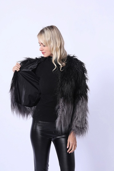 Ombre Party Fashion Winter Regular Faux Fur Coats_2