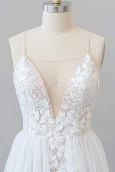 Amazing Chapel Train Appliques Tulle Wedding Dress_5