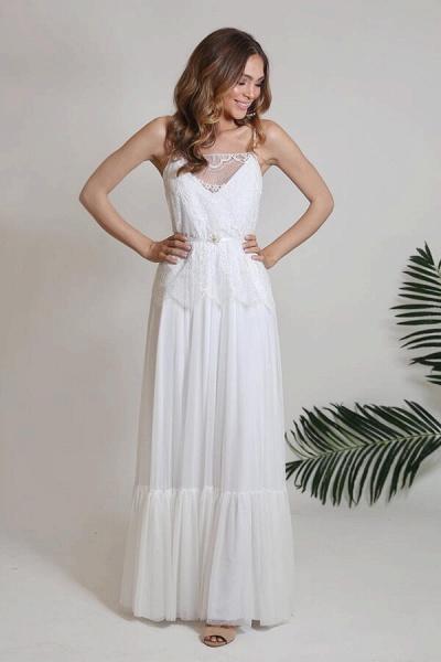 Spaghetti Strap Lace Chiffon Sheath Wedding Dress_1