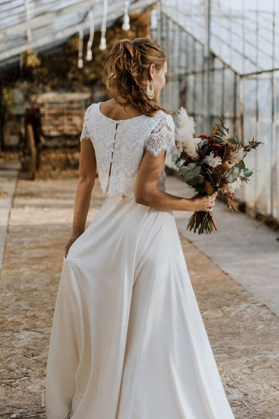 Short Sleeve Lace High Low Two Piece Wedding Dress_3