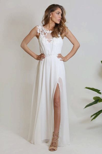 Front Slit Appliques Chiffon A-line Wedding Dress_1
