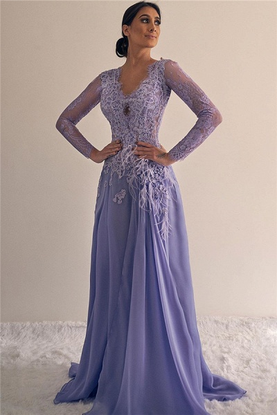 Sleek V-neck Lace A-line Evening Dress_1