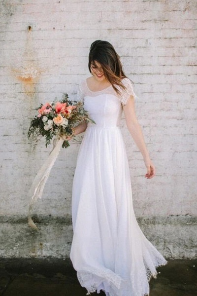 Short Sleeve Floor Length Lace A-line Wedding Dress_1