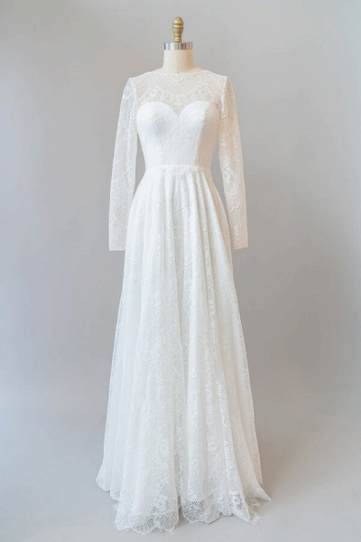 Illusion Long Sleeve Lace A-line Wedding Dress_1