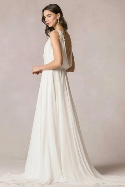 Open Back Ruffle Lace Chiffon A-line Wedding Dress_4