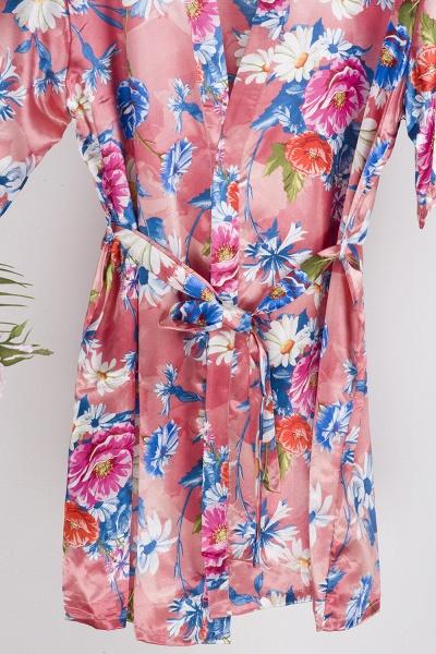 Short Sleeve Floral Print Bridesmaid Bridal Robes_8