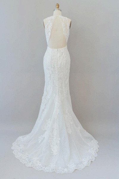 Awesome Illusion Lace Mermaid Wedding Dress_3