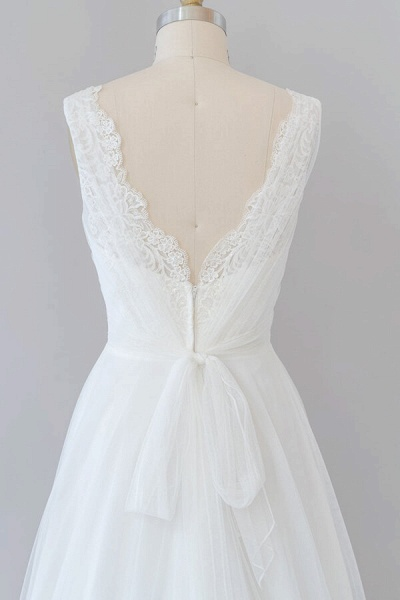 Ruffle V-neck Lace Tulle A-line Wedding Dress_8