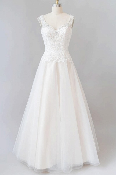Elegant Open Back Lace Tulle A-line Wedding Dress_2