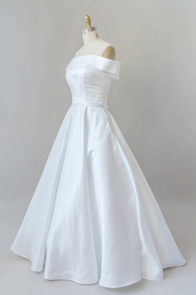 Graceful Off Shoulder Satin Ball Gown Wedding Dress_4